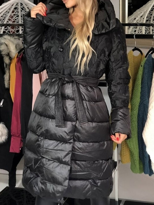 Thick Double-Breasted Lace-Up Long Cotton Padded Jacket
