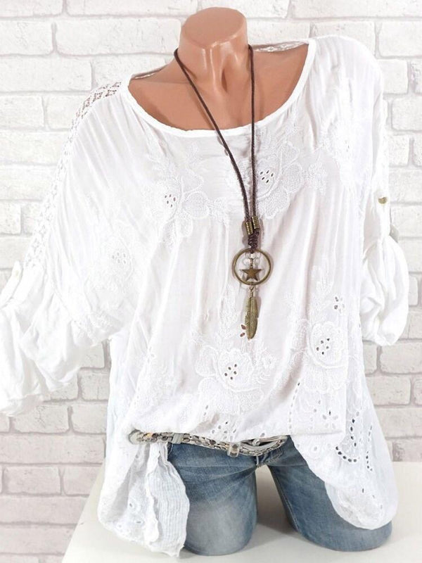 Hollow Plain Round Neck Mid-Length Long Sleeve Blouse