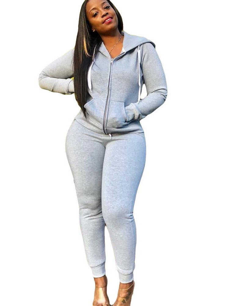 Casual Plain Coat Pencil Pants Hooded Two Piece Sets