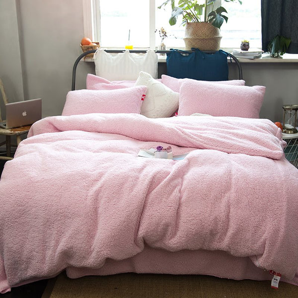 Solid Pink Super Soft Fluffy Polyester Faux Sherpa 4-Piece Set di biancheria da letto / copripiumino
