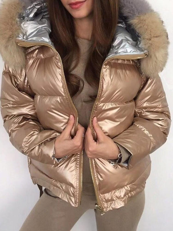 Patchwork Loose Thick Standard Cotton Padded Jacket