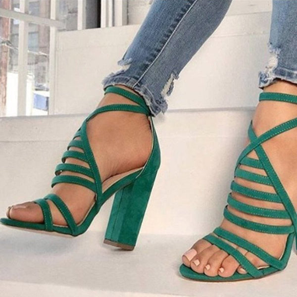 Chunky Heel Buckle Round Toe Heel Covering Casual Plain Sandals