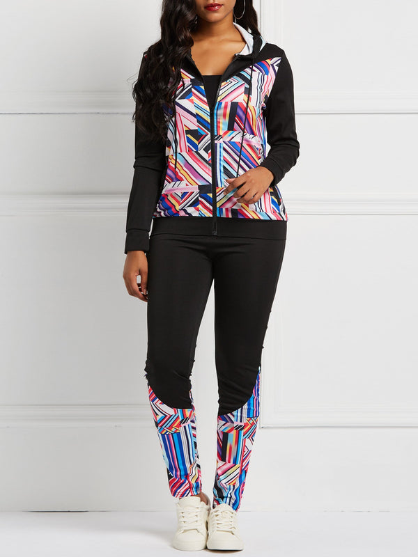 Geometric Patchwork Pants Zipper Hooded Two Piece Sets
