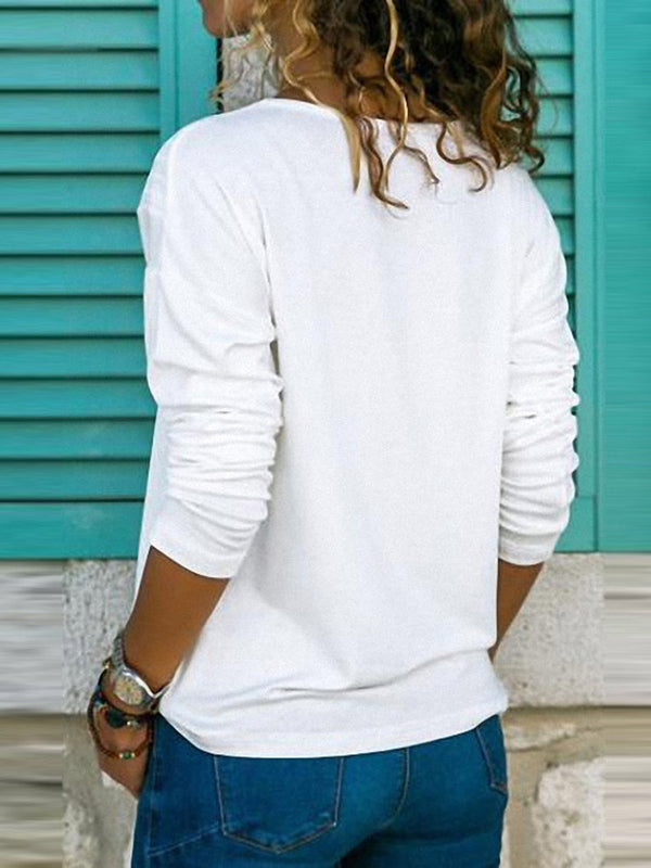 Best Seller V-Neck Slim Pure Color T-shirt