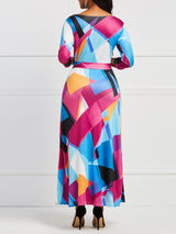 Contrast Color Half Sleeve Sexy V-Neck Maxi Dress