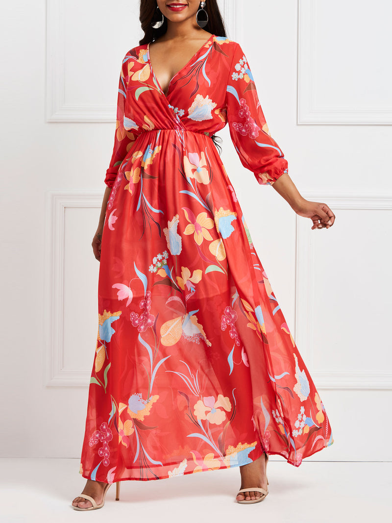 Chiffon V-Neck Floral Floor-Length Dress