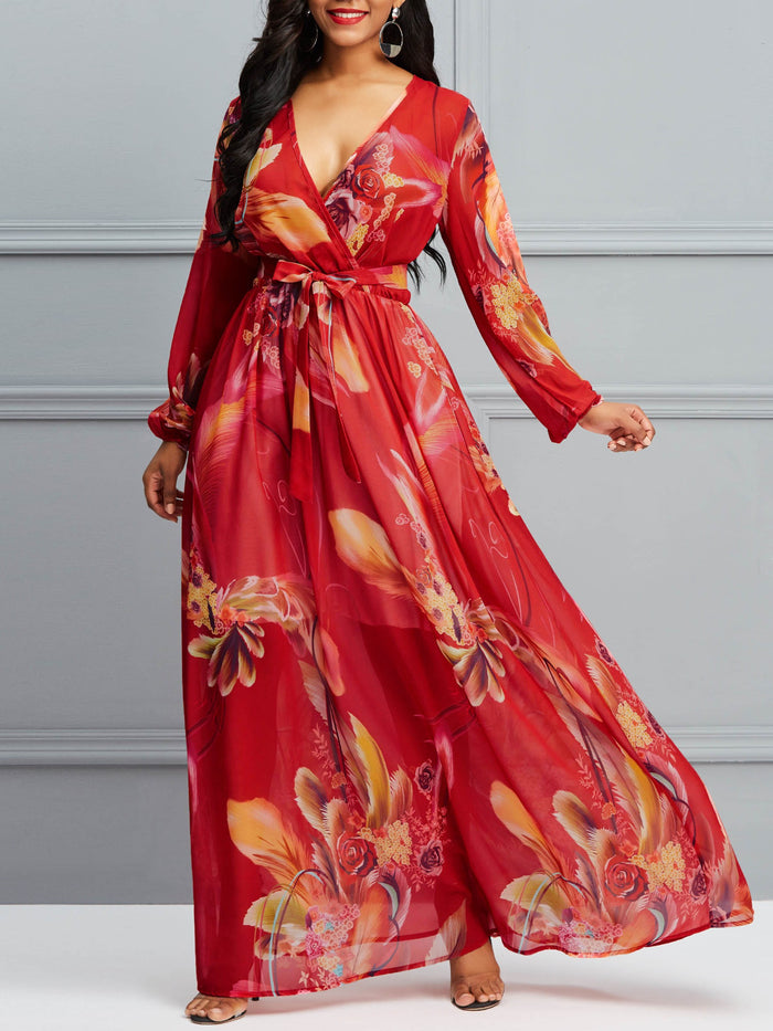 Long Sleeve V-Neck Chiffon Floral Maxi Dress