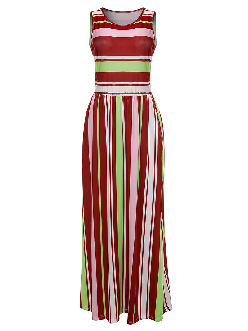 Sexy Stripe  Round Collar Sleeveless Women's Dress