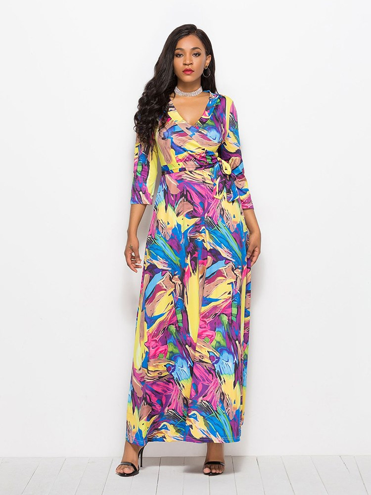 Maxi V-Neck Women's Floral Dress