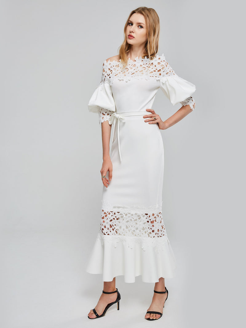 Unique Hollow Out Puff Sleeve Maxi Dress