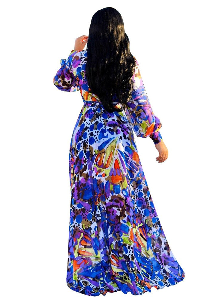 Hot Floral Chiffon Sexy V-Neck Maxi Dress