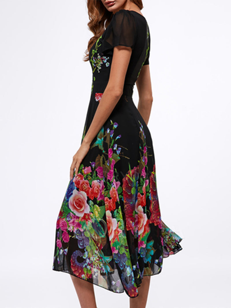 Women's Dress Floral Square Neck Trumpet Chiffon Printing Maxi Dress