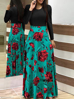 Long Sleeves Patchwork Floral Maxi Dress