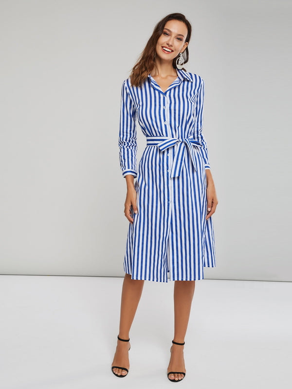 Blue A-Line Stripe Women's Shirt Dress