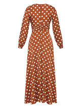 Long Sleeve V-Neck Polka Dots Bohemian Maxi Dress