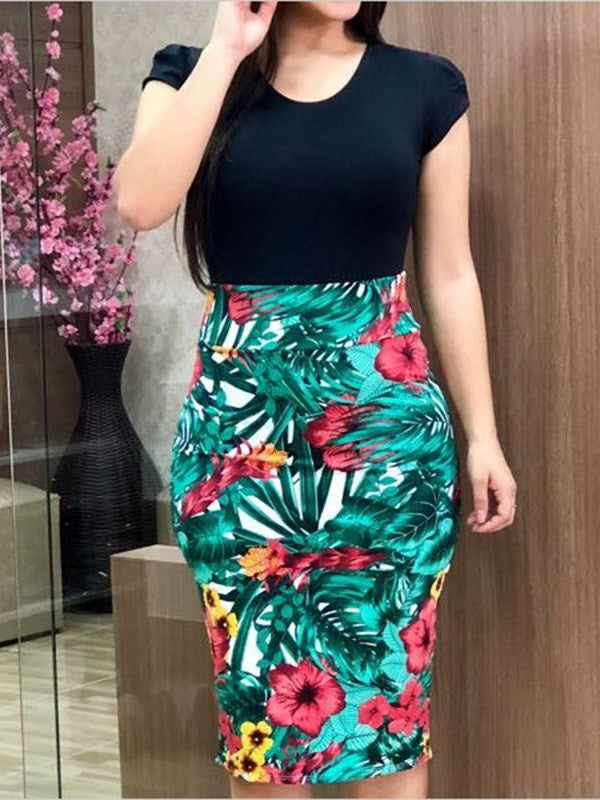 Sexy Women Dresses Mermaid Floral Printed Summer Women O Neck Short Sleeve Casual Bodycon Red Dress