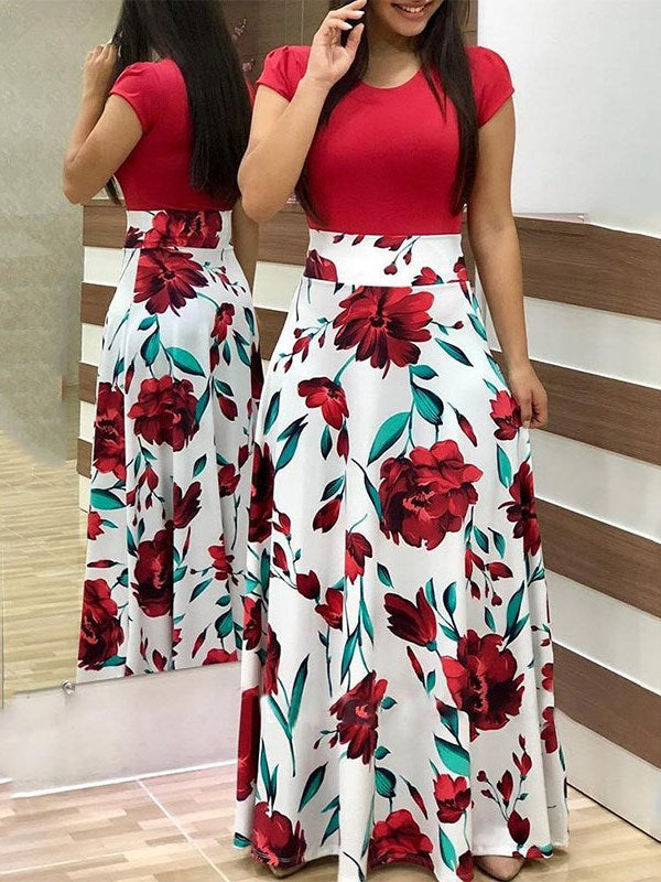 Fashion A-Line Printed Causal Women Floral Maxi Dress