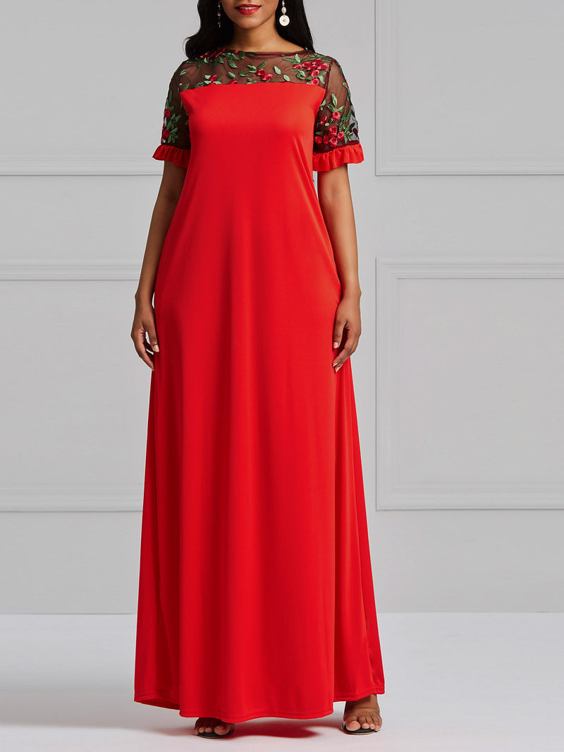 Best Seller Loose Lace Embroidery Maxi Dress