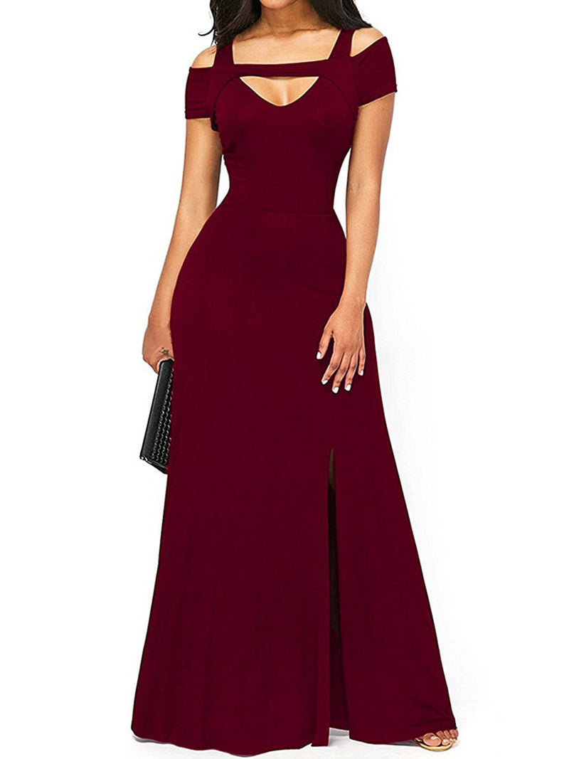 Women's V-Neck Pure Color Short Sleeve Maxi Dress