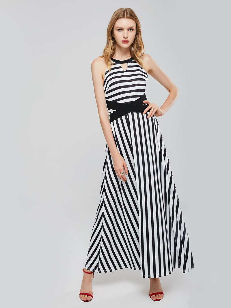 Stripe Sleeveless Round Neck Women's Maxi Dress