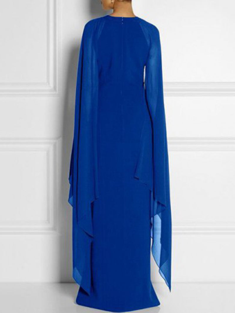 Solid Color Split Chiffon Maxi Dress