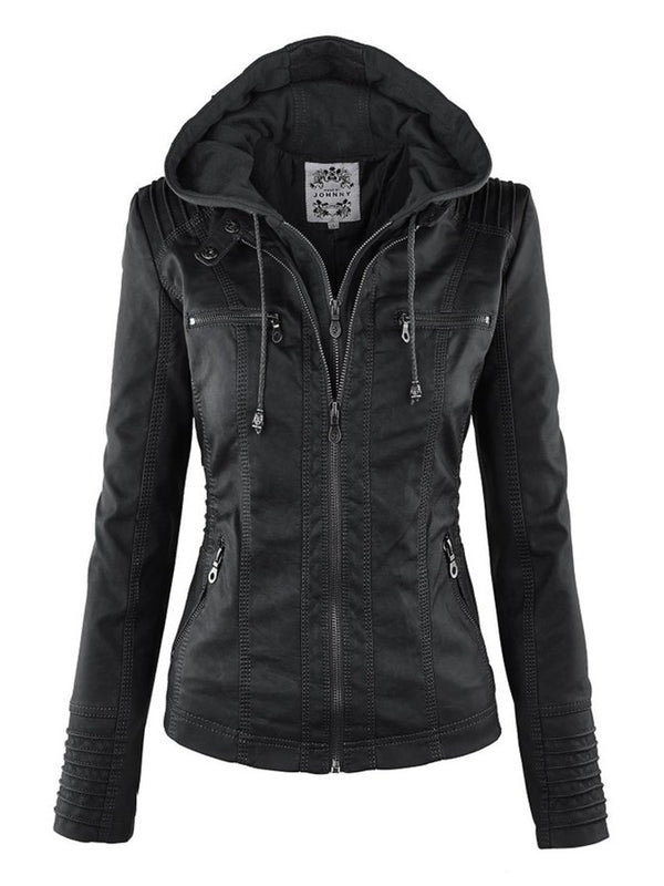 Hooded Double-Layer Plain Women's Pu Jacket