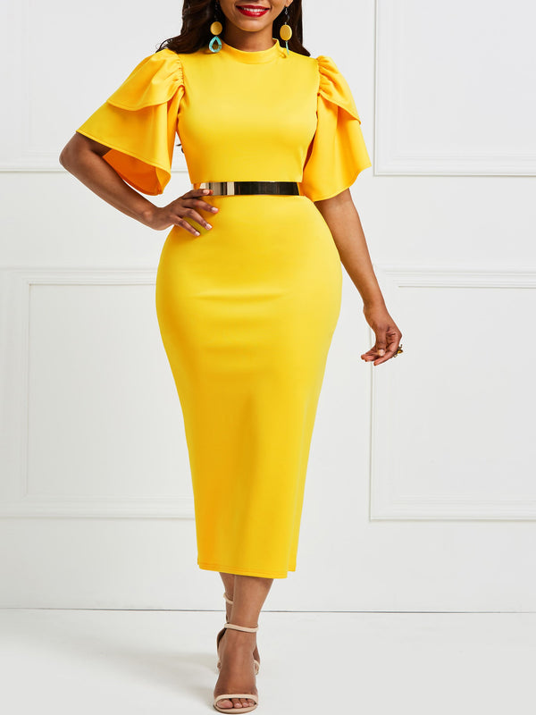 Falbala Pure Color Knee-Length Bodycon Dress
