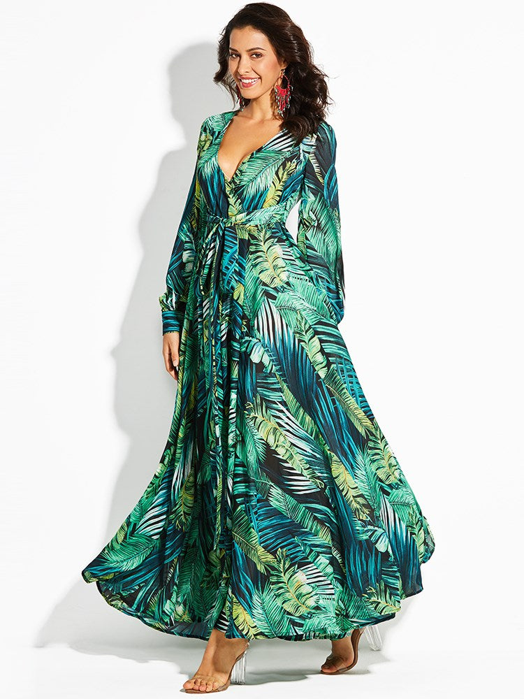 V-Neck Plant Print Lace-Up Women's Maxi Dress
