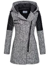 Hooded Middle Length Zipper Contrast Color Women's Jacket