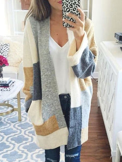 Loose Long Sleeve Color Block Mid-Length Cardigan Knitwear