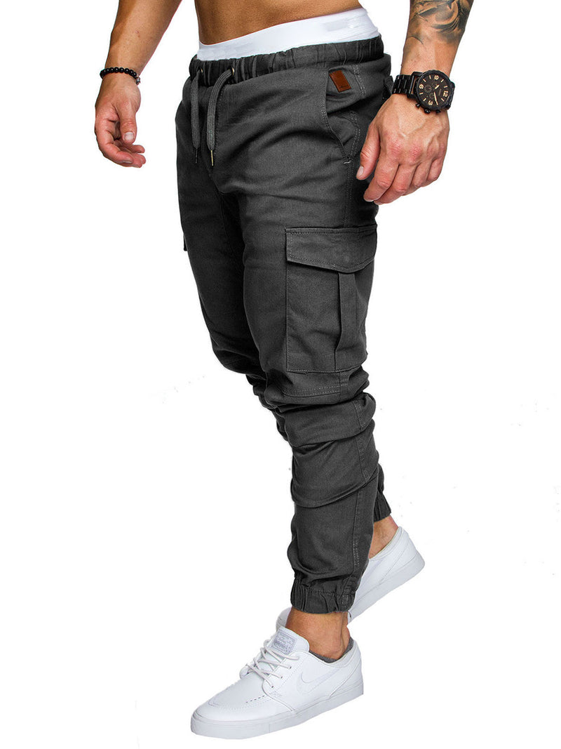 Pockets Plain Drawstring Men's Pants