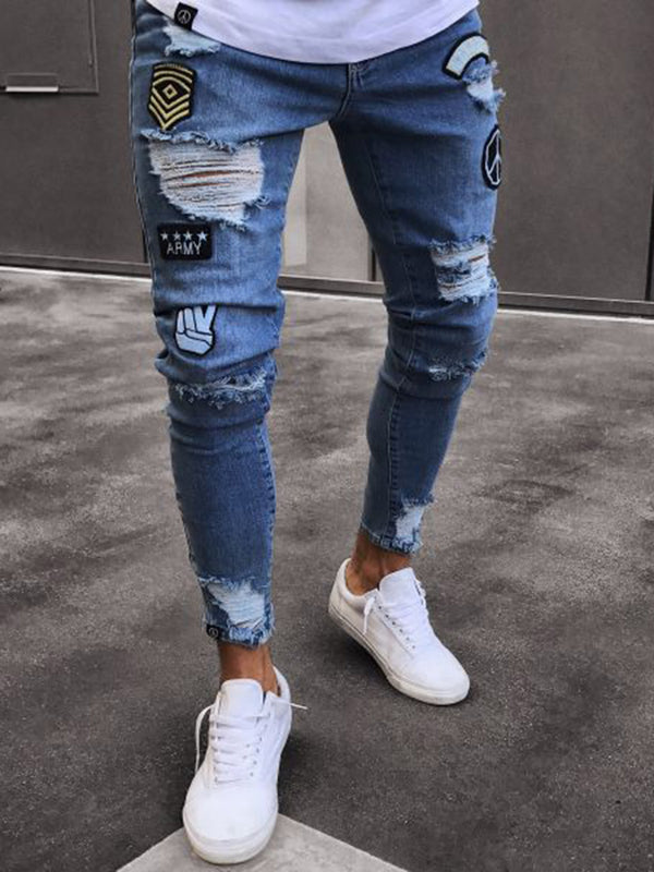 Trendy Hole Full Length Thin Men's Jeans