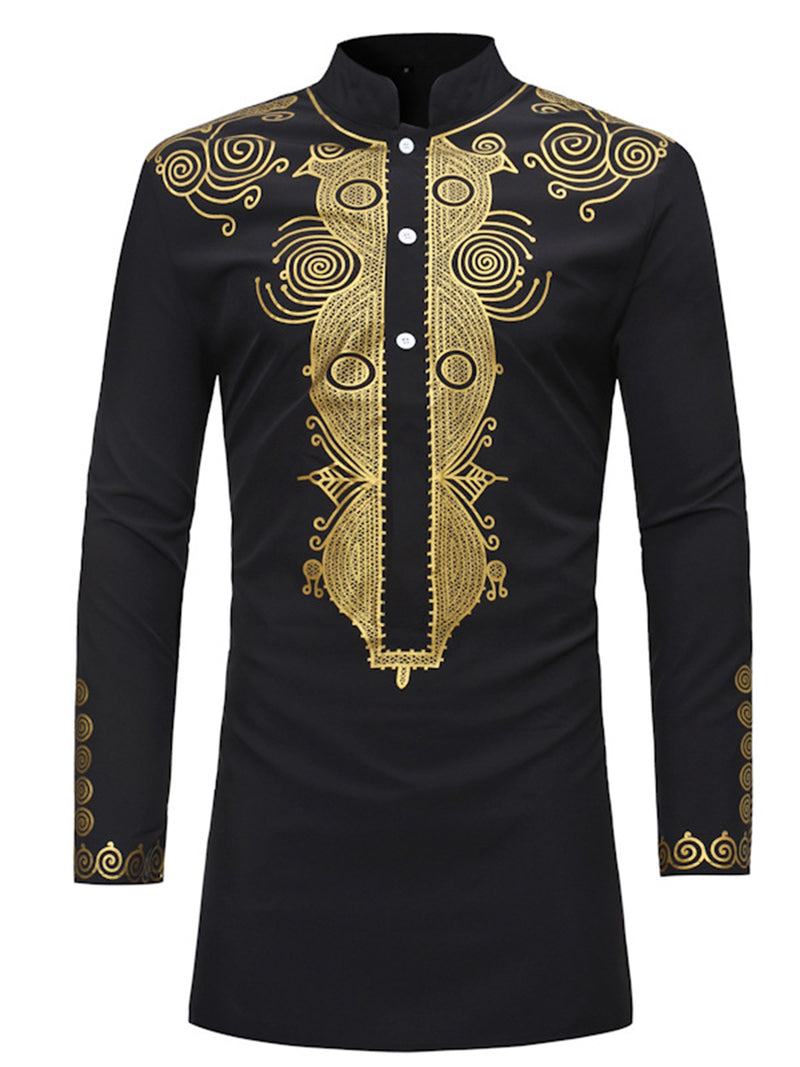 Chemise pour hommes Dashiki Stand Collar Mid-Length Slim