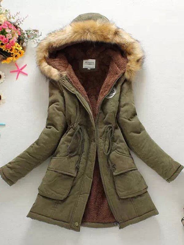 Warm Long Coat Fur Collar Hooded Jacket Slim Winter Parka Outwear Coats