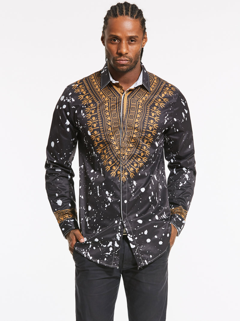 Dashiki Revers - African Ethnic Print - Langärmliges, luxuriöses Herrenhemd