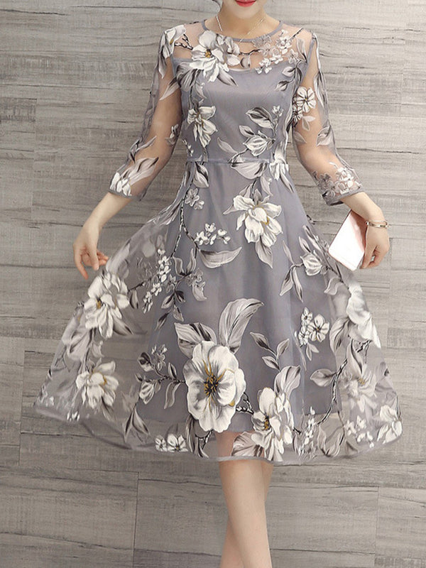 Floral Print Three-Quarter Sleeve Expansion Casual Dress