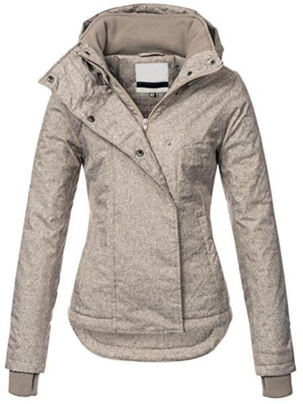 Hooded Slim Zipper Pockets Short Women's Winter Jacket