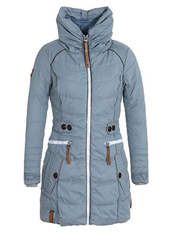 Plain Mid-Length High Neck Women's Winter Jacket