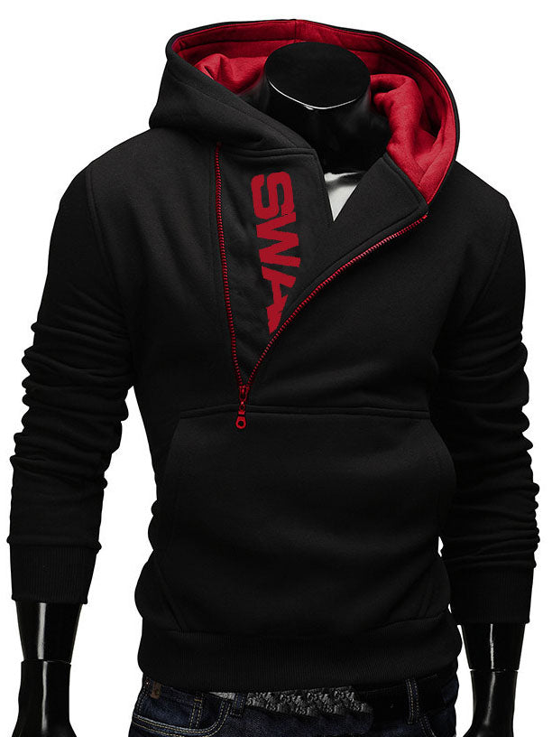 Letter Print Zipper Decorated Pullover Men's Hoodie