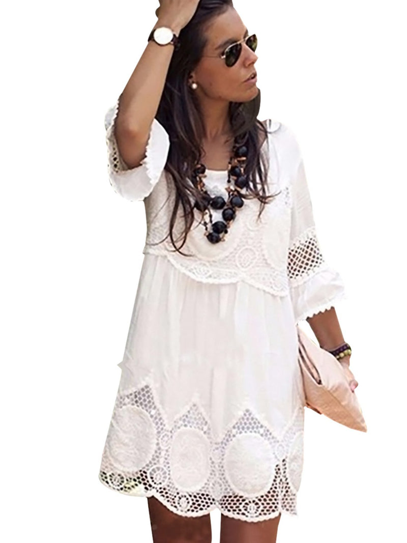 Women's Lace Round Collar Short Sleeve Dress