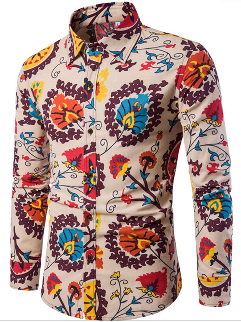 Long Sleeve Lapel Linen Ethnic Print Luxury Men's Dress Shirt