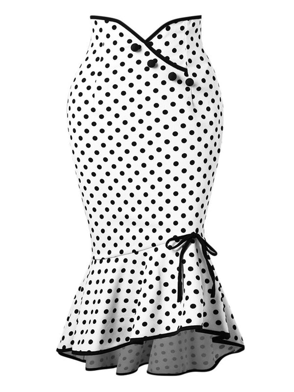 Polka Dot High Taille A-Line Bodycon Damenrock