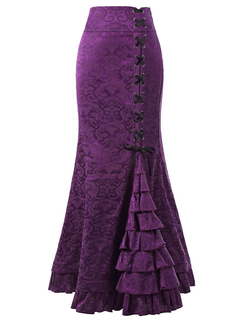 Exquisite Pure Color Lace High Waist Skirt
