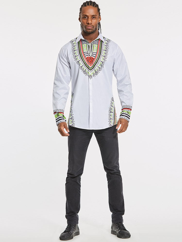 Dashiki Lapel African Ethnic Print Luxury Men's Long Sleeve Shirt