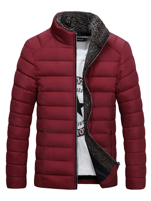 Stand Collar Thicken Warm Zipper Plain Slim Men's Winter Coat