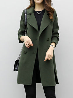 Double-Breasted Fleece Solid Mid-Length Outer Coat Women's Winter Overcoat