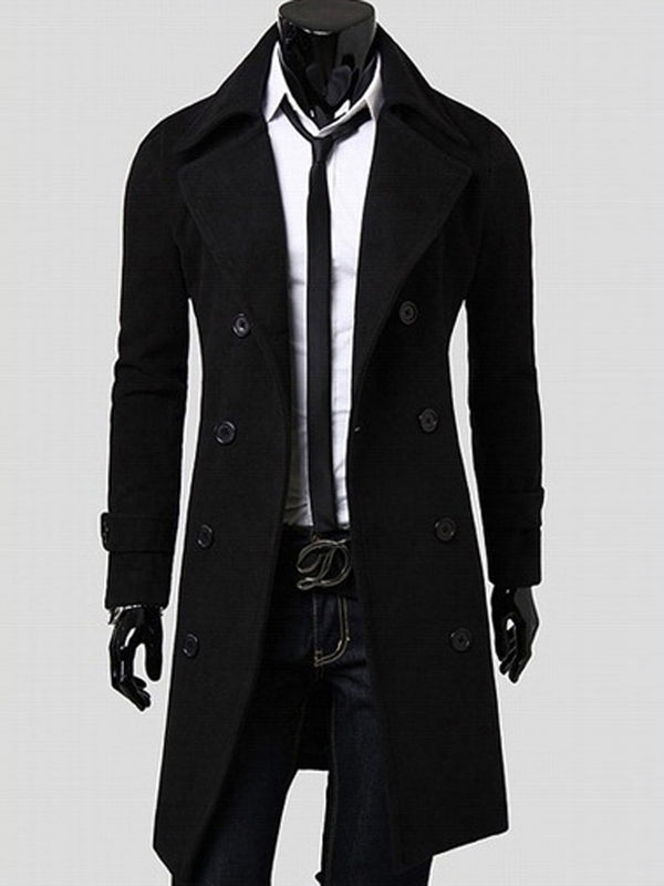 Mid-Length Notched Lapel Double-Breasted Slim Men's Peacoat