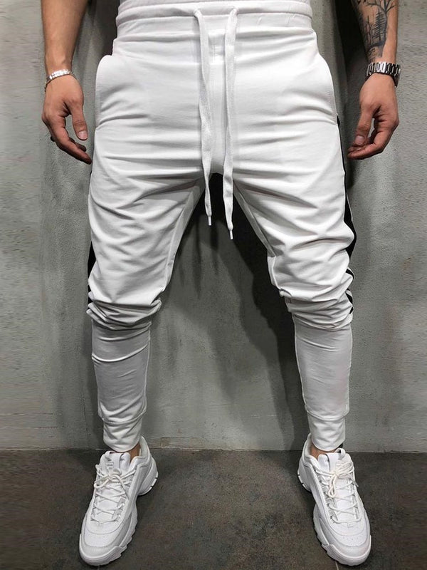 Patchwork Lace Up Men's Casual Pants