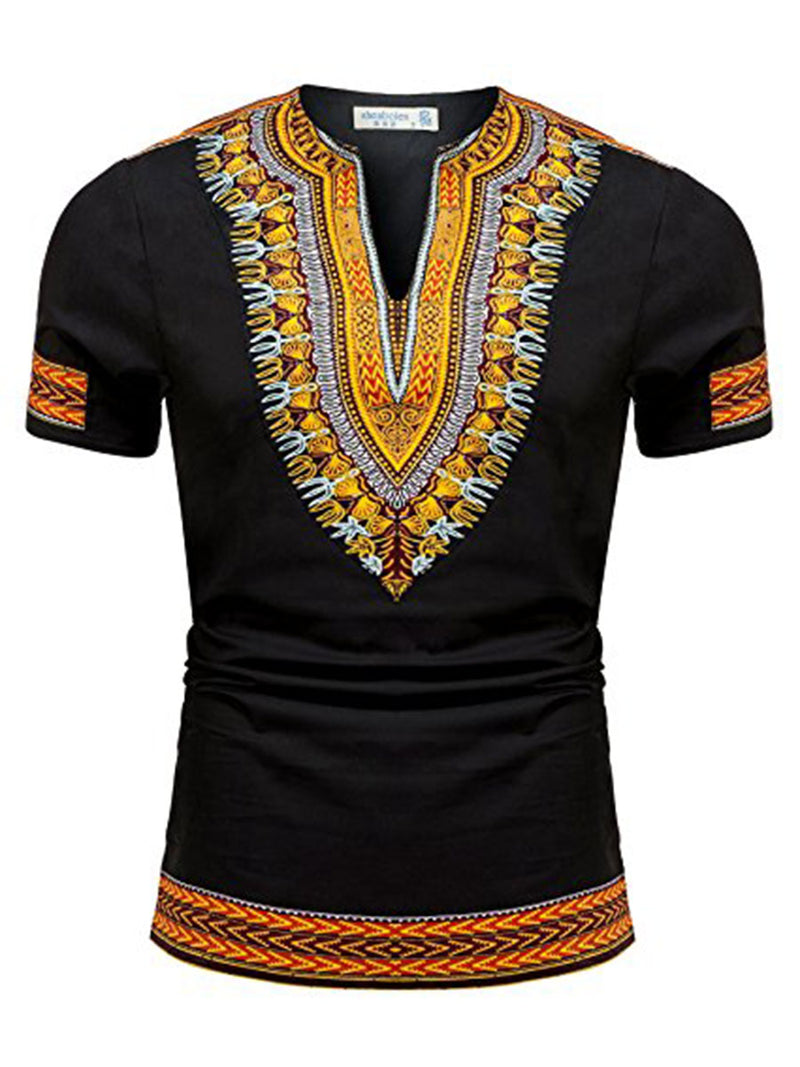 Dashiki Print V-Neck Short Sleeves Men's T-Shirt