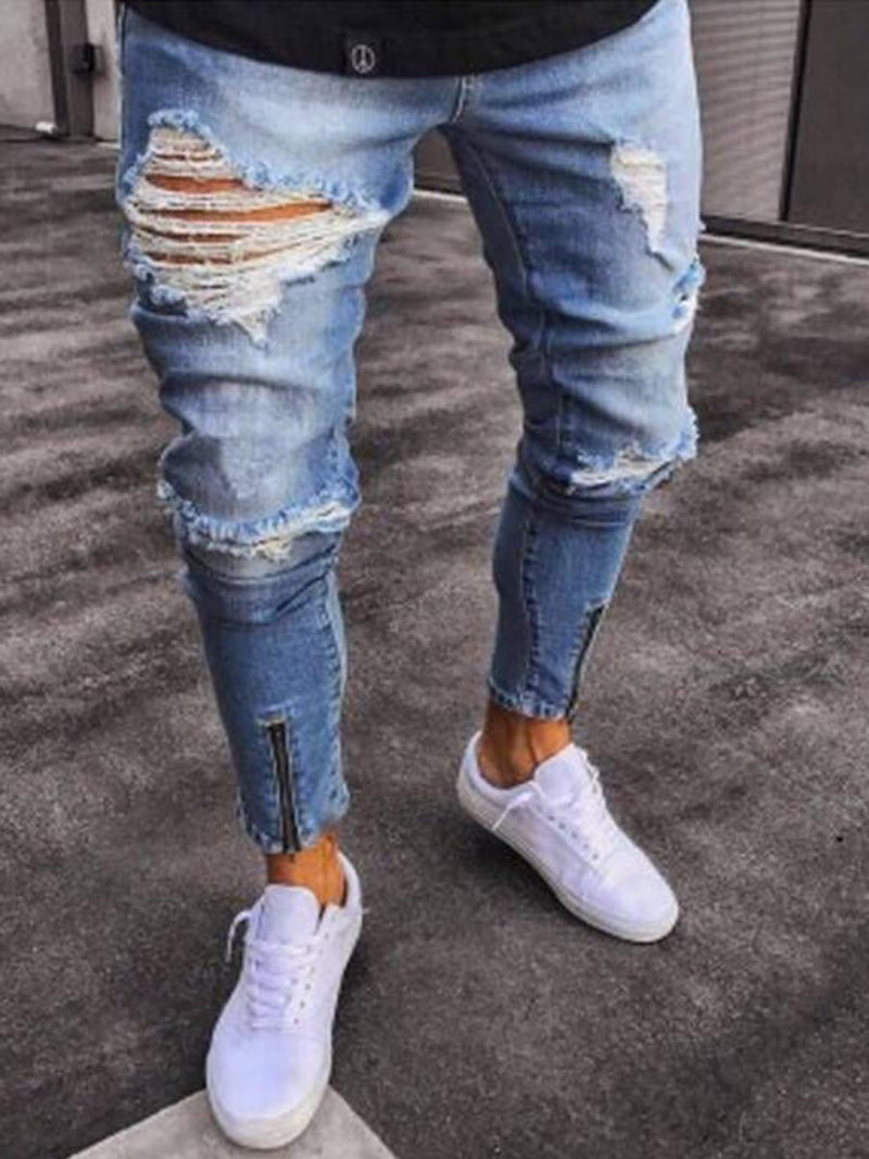 Hole Worn Plain Zip Detail Men's Jeans